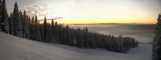 Piste Haffjell bei Sonnenuntergang